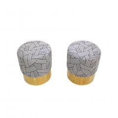 Contemporary Circular Cotton Jacquard and Brass Pair of Italian Poufs - 1143274