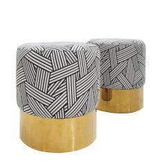 Contemporary Circular Cotton Jacquard and Brass Pair of Italian Poufs - 1143275