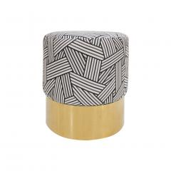 Contemporary Circular Cotton Jacquard and Brass Pair of Italian Poufs - 1143276