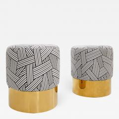 Contemporary Circular Cotton Jacquard and Brass Pair of Italian Poufs - 1143475