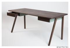 Contemporary Desk in French Walnut and Metal Jean Collection - 1636493