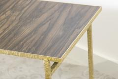 Contemporary End Table in Ziricote and Brass Hammered Collection - 1696512