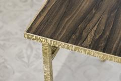 Contemporary End Table in Ziricote and Brass Hammered Collection - 1696516