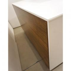 Contemporary Italian White Sideboard Cabinet With Burgundy Wood Legs