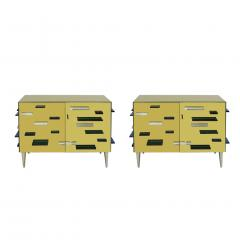 Contemporary Golden Murano Glass Mirror and Brass Pair of Italian Cabinets - 1591487