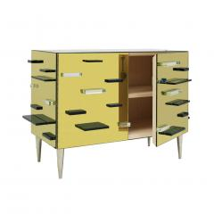 Contemporary Golden Murano Glass Mirror and Brass Pair of Italian Cabinets - 1591490