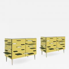 Contemporary Golden Murano Glass Mirror and Brass Pair of Italian Cabinets - 1592372