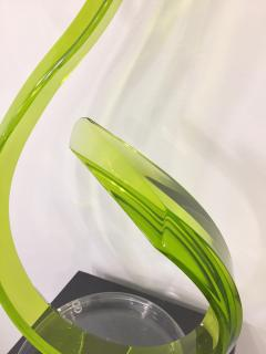Contemporary Green Acrylic Abstract Sculpture with Scroll Design - 1041699