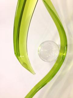 Contemporary Green Acrylic Abstract Sculpture with Scroll Design - 1041701