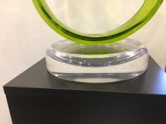 Contemporary Green Acrylic Abstract Sculpture with Scroll Design - 1041704