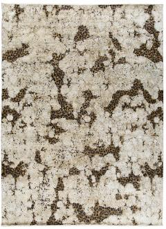 Contemporary Hand Knotted Leopard Wool and Silk Rug in Brown Cream and Black - 1391495