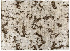 Contemporary Hand Knotted Leopard Wool and Silk Rug in Brown Cream and Black - 1391496