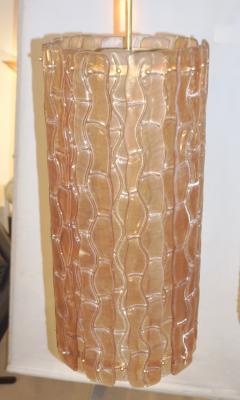 Contemporary Italian Amber Crystal Murano Glass Tall Brass Lantern Chandelier - 1127517