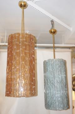 Contemporary Italian Amber Crystal Murano Glass Tall Brass Lantern Chandelier - 1127528