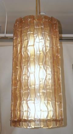 Contemporary Italian Amber Crystal Murano Glass Tall Brass Lantern Chandelier - 1127530