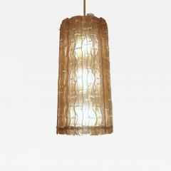 Contemporary Italian Amber Crystal Murano Glass Tall Brass Lantern Chandelier - 1128925