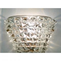 Contemporary Italian Brass Crystal Rostrato Textured Murano Glass Sconces - 1902810