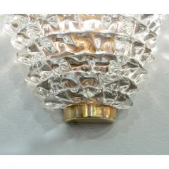 Contemporary Italian Brass Crystal Rostrato Textured Murano Glass Sconces - 1902811