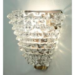 Contemporary Italian Brass Crystal Rostrato Textured Murano Glass Sconces - 1902812
