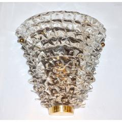 Contemporary Italian Brass Crystal Rostrato Textured Murano Glass Sconces - 1902813