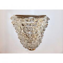 Contemporary Italian Brass Crystal Rostrato Textured Murano Glass Sconces - 1902814