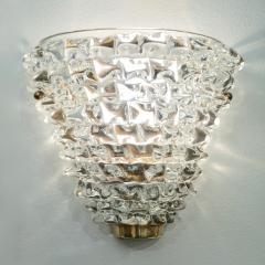Contemporary Italian Brass Crystal Rostrato Textured Murano Glass Sconces - 1902816