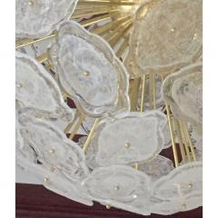 Contemporary Italian Brass White Frosted Murano Glass Leaf Sputnik Chandelier - 1088154