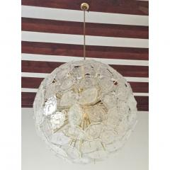 Contemporary Italian Brass White Frosted Murano Glass Leaf Sputnik Chandelier - 1088155