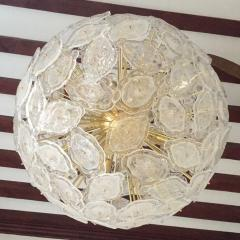 Contemporary Italian Brass White Frosted Murano Glass Leaf Sputnik Chandelier - 1088158