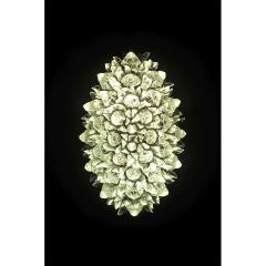 Contemporary Italian Crystal Clear Glass Oval Silver Flush Mount Sconce - 978158