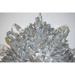 Contemporary Italian Crystal Clear Glass Oval Silver Flush Mount Sconce - 978159