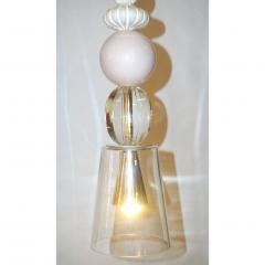 Contemporary Italian Crystal Pink Gold Cream White Murano Glass Pendant Light - 1455840