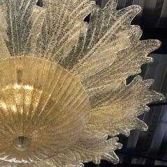Contemporary Italian Custom Amber Textured Murano Glass Brass Flower Flush Mount - 1414034