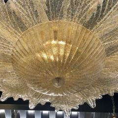 Contemporary Italian Custom Amber Textured Murano Glass Brass Flower Flush Mount - 1414035