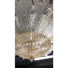 Contemporary Italian Custom Amber Textured Murano Glass Brass Flower Flush Mount - 1414036