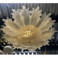Contemporary Italian Custom Amber Textured Murano Glass Brass Flower Flush Mount - 1414038