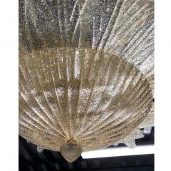 Contemporary Italian Custom Amber Textured Murano Glass Brass Flower Flush Mount - 1414039