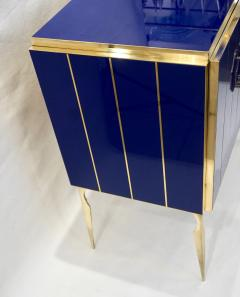 Contemporary Italian Custom Art Deco Style Royal Blue Glass Modern Cabinet Bar - 1687893