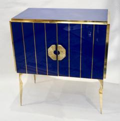 Contemporary Italian Custom Art Deco Style Royal Blue Glass Modern Cabinet Bar - 1687894