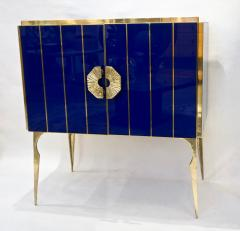Contemporary Italian Custom Art Deco Style Royal Blue Glass Modern Cabinet Bar - 1687895