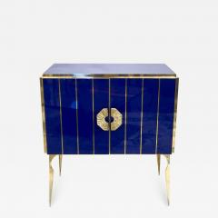 Contemporary Italian Custom Art Deco Style Royal Blue Glass Modern Cabinet Bar - 1688838