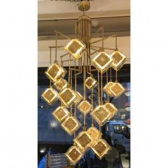 Contemporary Italian Geometric Design Gold Crystal Murano Glass Brass Chandelier - 973655