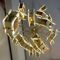 Contemporary Italian Geometric Design Gold Crystal Murano Glass Brass Chandelier - 973656