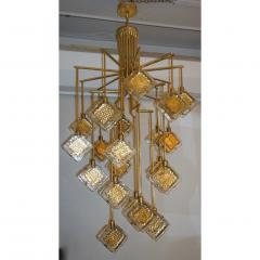 Contemporary Italian Geometric Design Gold Crystal Murano Glass Brass Chandelier - 973658