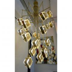 Contemporary Italian Geometric Design Gold Crystal Murano Glass Brass Chandelier - 973660