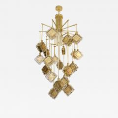 Contemporary Italian Geometric Design Gold Crystal Murano Glass Brass Chandelier - 974053