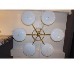 Contemporary Italian Minimalist Brass and White Murano Glass Globe Chandelier - 633947