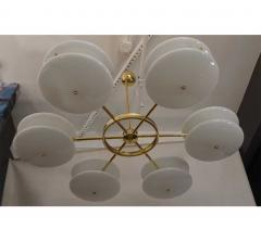 Contemporary Italian Minimalist Brass and White Murano Glass Globe Chandelier - 633949