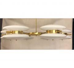 Contemporary Italian Minimalist Brass and White Murano Glass Globe Chandelier - 633950
