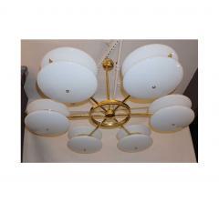 Contemporary Italian Minimalist Brass and White Murano Glass Globe Chandelier - 633951